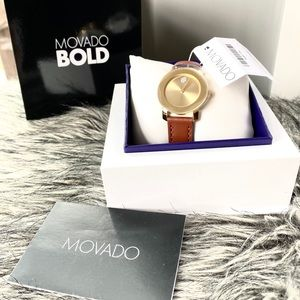 NWT authentic MOVADO Bold leather strap watch gold